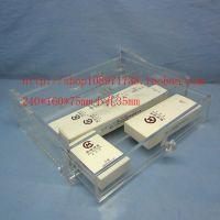 现代精美高档透明亚克力4孔收纳盒 时尚妆首饰盒高品质双层抽屉盒