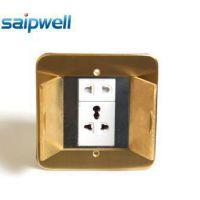 斯普威尔 隐藏式铜合金地面电源插座 防水五孔地插 豪华版地插