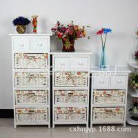 厂家批发 新款韩式田园风格家具收纳柜 宜家床头柜实木储物柜子