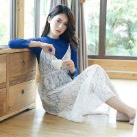 厂家直销 春秋新款蕾丝外裙纯色打底裙唯美时尚高档纯棉睡裙B1180
