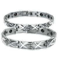 ebay速卖通敦煌供货 带磁保健钢链 钛钢情侣手链 小饰品 GS3244