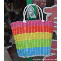 五彩虹塑料管编织购物居家日用洗澡手袋家庭收纳用具菜篮子提菜器