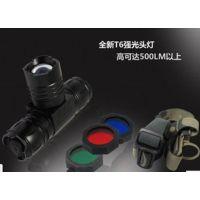 新款T6头灯 18650锂电池强光T6头灯 3档调光 大功率充电强光头灯