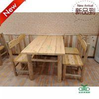 运达来 新款推荐休闲餐厅实木桌子 高档西餐厅柏木餐桌椅 快餐厅桌椅组合