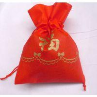 厂家供应新年福袋 束口无纺布袋 礼品红绳无纺布袋