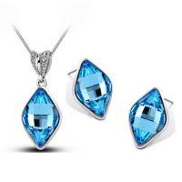 高档水晶水滴新款菱形耳环项链二件套-千金归来1340 首饰 套装