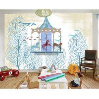 长沙景灿大型3D整张复旋转木马主题酒店餐厅壁纸 定制无纺布壁画 儿童房抽象剪影树背景墙纸