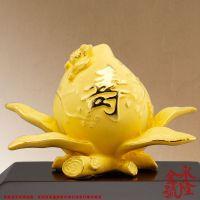 绒沙金工艺摆件中福寿桃 送长辈老人生日礼物家居装饰品 贺寿礼品