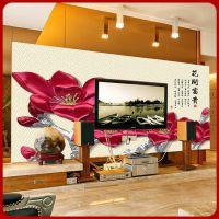 3D兰花电视背景墙壁纸大型壁画客厅沙发卧室床头定制墙纸厂家直销