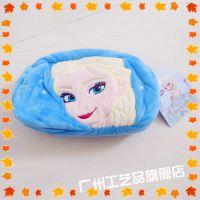 正版迪士尼冰雪奇缘Elsa 雪宝 line熊可妮兔毛绒双面化妆包笔袋