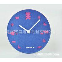 供应款的毛毡产品 毛毡静音钟表 创意卧室客厅挂钟表 可订做