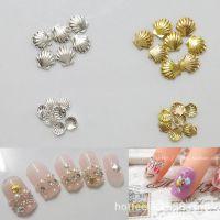 美甲饰品 DIY新娘假指甲配件 日本流行金属装饰品 金属金银小贝壳