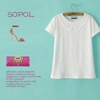 欧洲站2015新款短袖女T恤圆领 两色假领串珠修身打底衫纯色打底衫