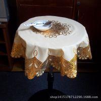 批发 高档烫金欧式塑料桌布 70CM圆形pvc台布 防烫餐桌布 可代发