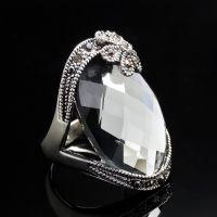 AA2824欧美外贸复古灰水晶镶钻戒指 EBAY 速卖通货源 一件代发