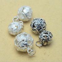 DIY-S925 泰银 纯银 花球挂件 饰品配件 挂件批发
