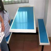广州员工玻璃钢食堂餐桌椅厂家 快餐店小吃店餐桌椅图 固定式餐桌现场安装照片