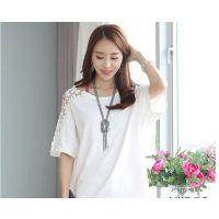 韩国官网同款2015夏季新品日韩大码女装花边短袖镂空蝙蝠衫T恤女