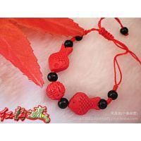 朱砂漆雕批发 夜市漆雕热卖 红色民族礼品 双鱼戏珠手链