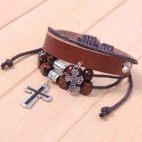 欧美 十字架串珠手链  皮质手链 编织手链 复古饰品批发