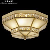 雷卡纳蒂欧式全铜灯美式奢华全铜焊锡玻璃做旧卧室书房儿童吸顶灯东南亚走廊过道灯饰