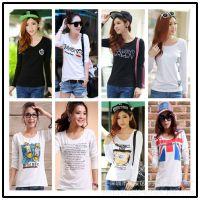 秋季新款韩版外贸女装打底衫 便宜纯棉长袖女式T恤地摊夜市好货源