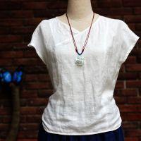 中式亚麻提花小V领长后摆修身衬衫上衣