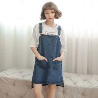 韩国东大门2015夏季新品减龄经典百搭口袋牛仔背带裙短裙女装实拍