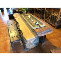 实木仿古茶台老船木家具茶桌椅组合简约小茶几茶桌茶艺桌原木餐桌