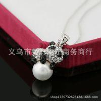 X040厂家直销韩款熊猫珍珠项链 时尚流行贝珠项链毛衣链批发