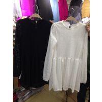 2015春款韩版时尚花边半高领中长款蕾丝连衣裙打底衫
