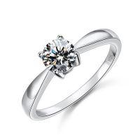 全球***经典四爪八心八箭切工锆石925结婚订婚纯银款式戒指2014118