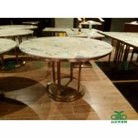 深圳石英石加工厂家直供白色花纹圆形餐桌台面 餐厅家具台面来图定制量大从优运达来