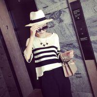 小银子2015春装新款百搭显瘦七分袖条纹宽松套头针织衫女