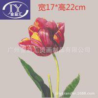 厂家供应服装女装印花花朵图案 玫瑰花、郁金香烫画图案来图订制