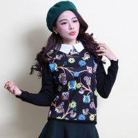 爆款 2014秋冬女 韩版潮流动物图案时尚加绒毛衣打底衫 厂家批发