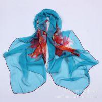 欧美流行 韩版外贸真丝女玫瑰花图案围巾 实用长款真丝丝巾围巾
