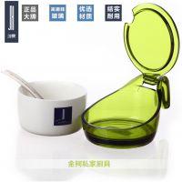 建厦圆形陶瓷调味盒调味罐不锈钢勺子三种颜色J-436