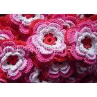 Multilayers Handmade Knitted Applique Multicolors Crochet Flowers For Hats