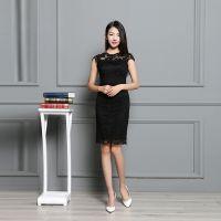 2016夏季新款一步裙女欧洲站时尚女装欧美无袖修身蕾丝连衣裙 一件代发
