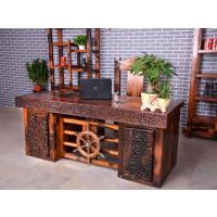 老船木家具船木办公桌椅组合实木老板桌大班台主管桌带船舵
