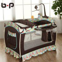 bp多功能可折叠婴儿床欧式童床宝宝床批发便携式无漆游戏床带蚊帐