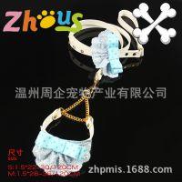 韩版宠物蓝格子领结项圈牵引带套装 小型犬泰迪带 全网最低批发