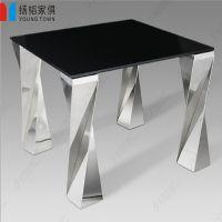 餐桌家具五金厂供应铸铁四脚大理石台面餐厅餐桌可来样定做