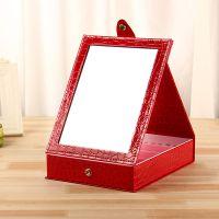 镜子台式折叠化妆镜首饰盒可爱梳妆公主镜可收纳化妆品小首饰