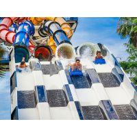 广州蓝潮水上乐园设备室内/外大型玻璃钢彩虹竞赛水上滑梯设施