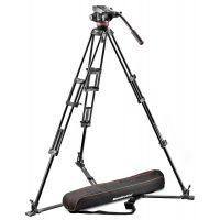 曼富图 502液压摄像云台和546两节铝合金双管摄像三脚架套装带脚架包(地置伸展器)