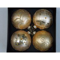 玻璃圣诞球 装饰球 圣诞树玻璃挂件 圣诞节庆用品 彩绘球