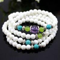 【放血价】批发天然白砗磲紫晶绿松石混搭手链 新款佛珠手链项链