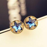 来自星星的你同款耳钉耳环镶钻圆圈五角星耳钉韩国饰品